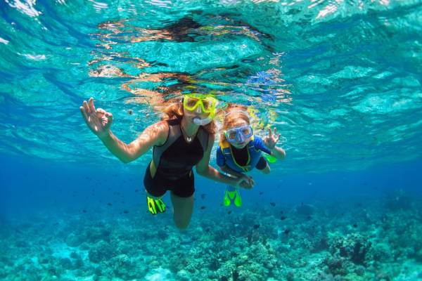 Adult and child snorkeling in the ocean