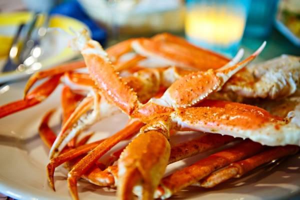 Crab legs at seafood restaurant